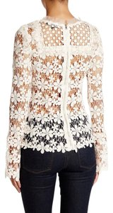 Romeo & Juliet Couture & Lace Bib Blouse Sheer Ruffle Top Cream