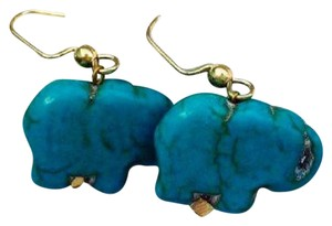 Lala Motifs Genuine Turquoise Stone Elephant Earrings