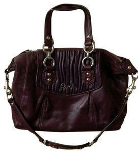 Coach Plum Ashley Gathered Leather Satchel in Purple Plum