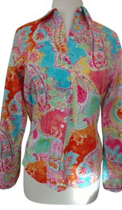 Chaps Top Coral/Yellow/Turquoise Paisley