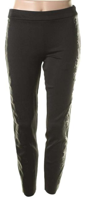 Item - Black/With Faux Black Leather Coated Trim Skinny Pants S Jeggings Size 27 (4, S)