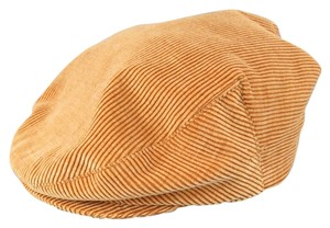 Chanel Size L Tan Corduroy Page Boy Cap Hat