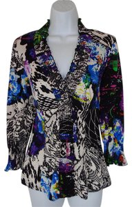 Alberto Makali Silk Stretch Smocked Printed Top