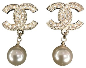 Chanel Clic Gold Pearl Drop Earrings With Crystals