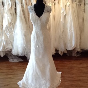 Mia Solano Ivory/Silver Lace Wedding Dress Size 14 (L)