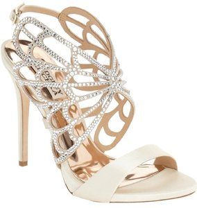 Badgley Mischka Wedding Embellished Butterfly Crystals Strappy Ivory Sandals