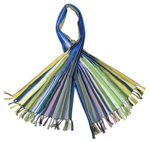 Paul Smith Blue Green & Yellow Striped Pleated Tassell Scarf