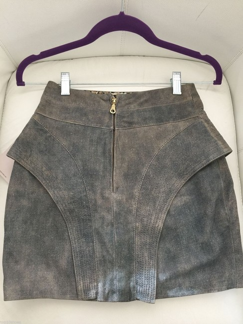 juju costa Leather Suede Zip Back Denim Coated Mini Mini Pencil High Waist Waist Leather Skirt Blue