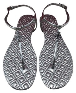 174264167bbc Tory Burch Gunmetal T Marion Quilted T-strap Sandals Size US 8.5 ...
