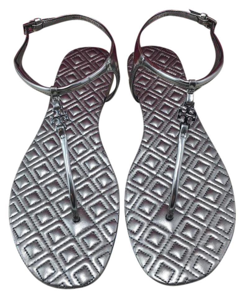6cc460fd71a Tory Burch Gunmetal T Marion Quilted T-strap Sandals Size US 8.5 Regular  (M