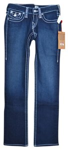 True Religion Denim Swarovski Nwt Crystals White Stitches Straight Leg Jeans-Dark Rinse