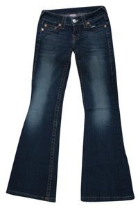 True Religion Womens Denim Flare Leg Jeans-Dark Rinse
