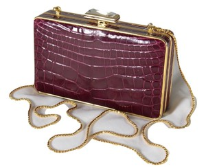 Judith Leiber Leather Crocodile Structured Handbag Red Clutch