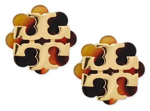 Tory Burch New Flower Resin Stud Logo Earrings In Tortoise & Gold Color