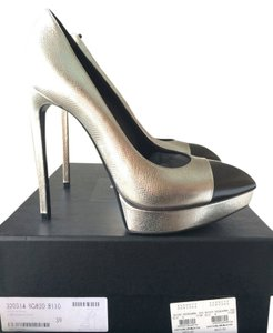 Saint Laurent Metallic Platform Hidden Platform Silver Pumps