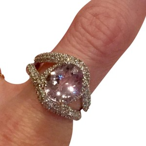 Other 14k White gold, kunzite & diamond ring-hallmarked