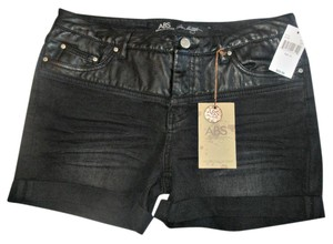A.B.S. by Allen Schwartz Leather Summer Cuff Cuffed Shorts Black