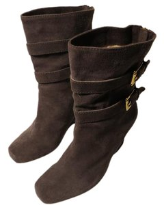Michael Kors Suede Ankle Wedge Gray Boots