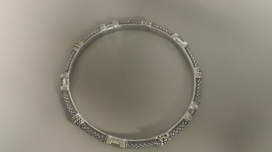 Andréa Candela Andrea Candela silver and gold bangle bracelet with green stones