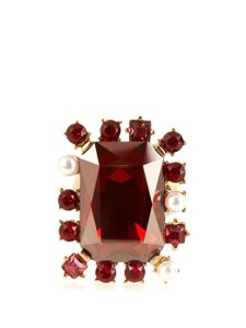 Oscar de la Renta Red Crystal-Embellished Ring