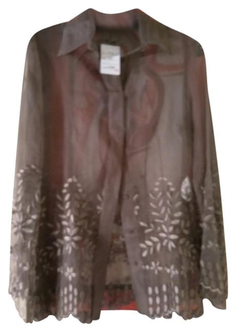 Item - Stone Brown Sheer Embroidered Made In Italy Blouse Size 6 (S)