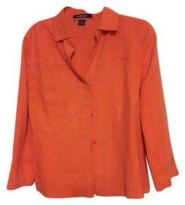 Ellen Tracy Button Down Shirt Orange