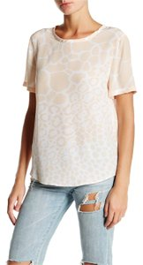 Equipment Leopard Print Short Sleeves Silk Tee Animal Print Crew Neck Top beige
