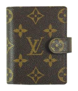 Louis Vuitton Card Credit Case Wallet Agenda Monogram Canvas Leather w/ Gold Pen etc