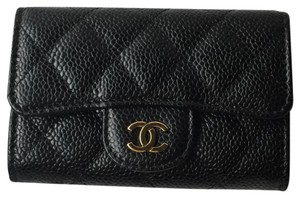 Chanel Chanel Classic Flap Card Holder Case in Black Caviar with Gold Hardware