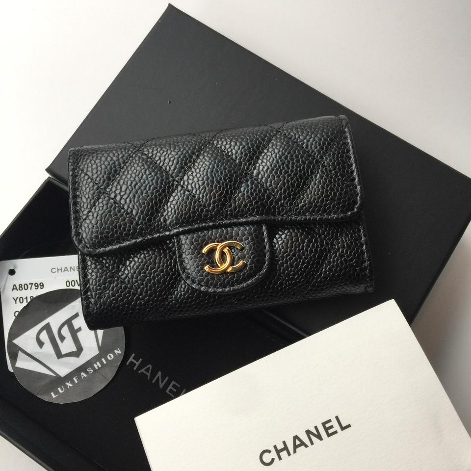 5ac533ce6c5f Chanel Chanel Classic Flap Card Holder Case in Black Caviar with Gold  Hardware Image 11. 123456789101112