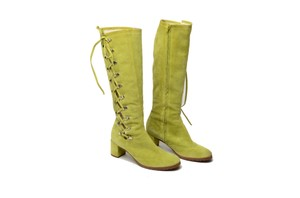 Marc Jacobs Sheepskin Suede Lime Green Boots