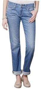 AG Adriano Goldschmied Tomboy Distressed Boyfriend Cut Jeans-Light Wash