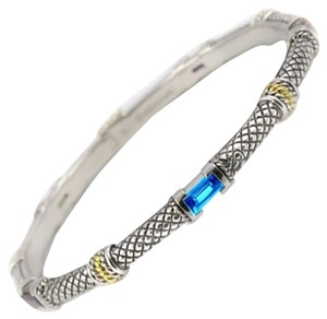 Andréa Candela Andrea Candela silver and gold bangle bracelet with blue stones