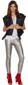 Nasty Gal Control Waist Bodycon Club Disco Skinny Pants Silver