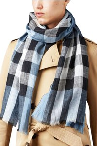 Burberry Burberry Men's Giant Exploded Blue Grey Check Linen Crinkled Scarf