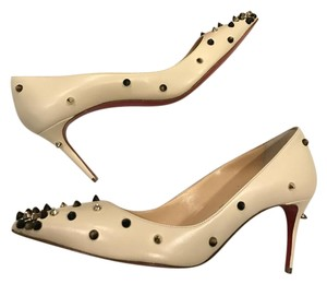 Christian Louboutin Spike Studded Degraspike Popcorn White Ivory Pumps