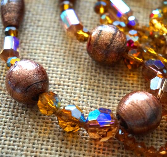 Vintage Antique Venetian Foil Art Glass Flapper Sautoir Necklace Sunstone Gemstones Crystal Beads