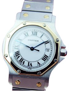 Cartier MidSize SANTOS 18K Gold & Steel White Roman Dial watch w/Bracelet