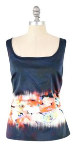 Elie Tahari Stretch Cotton Sateen Ruched Scoop Neck Floral Top Navy
