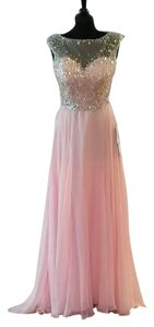 La Femme Illusion Beaded Open Back Chiffon Prom Dress
