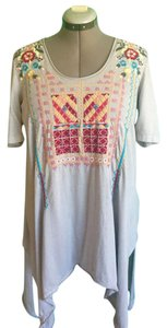 Johnny Was Shortsleeve Cotton Embroidered Asymmetrical Tunic