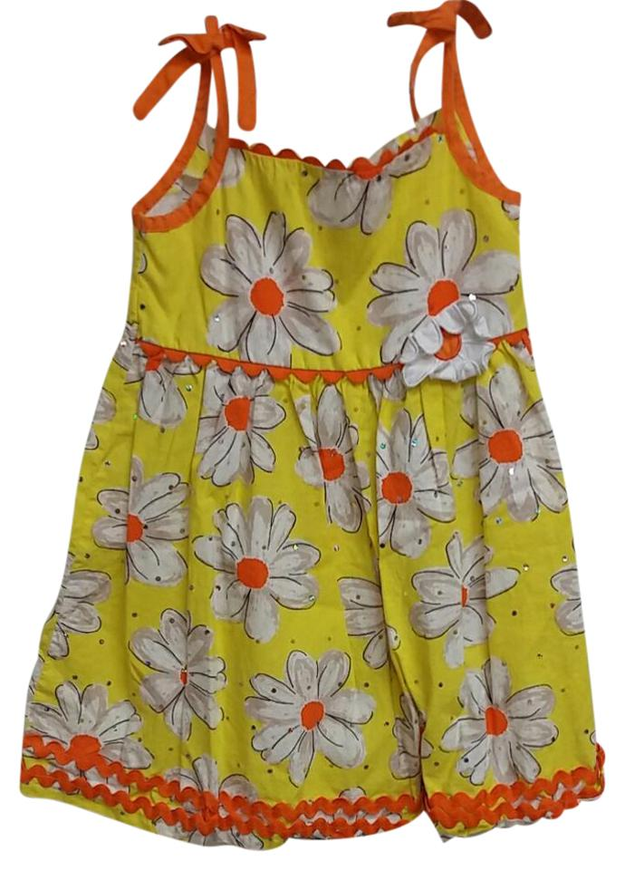 b3eabbd39a35 Yellow Orange and White Skb22943 Romper Jumpsuit - Tradesy