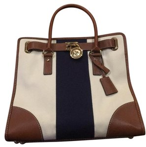 Michael Kors Tote in Navy, Cream, Gold, Brown