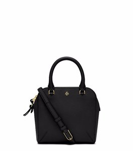 Tory Burch Saffiano Leather Satchel in Black