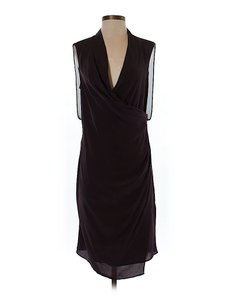 AllSaints Silk Draped Faux Wrap Cowl Neckline Dress