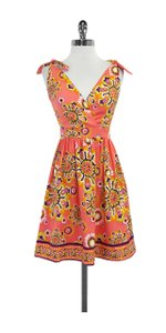 Trina Turk short dress Coral Floral Print Silk on Tradesy