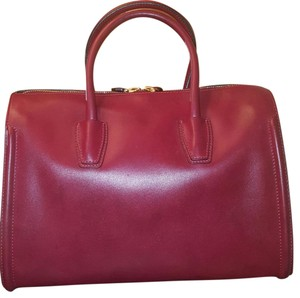 MCM Satchel in Oxblood red