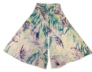 Chez Chanterelle Tropical Wide Leg Capris White with blue and green