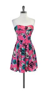 Betsey Johnson short dress Pink Teal Rose Print Silk on Tradesy