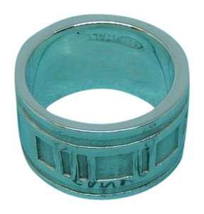 Tiffany & Co. 925 ATLAS Roman numeral 12mm Wide Band Ring Size 6
